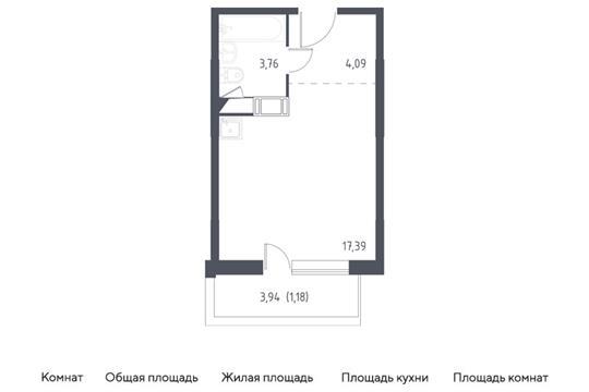 Студия, 26.42 м2, 5 этаж