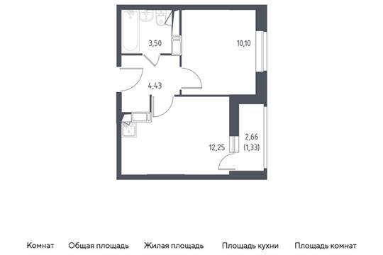 1-комн квартира, 31.61 м2, 14 этаж