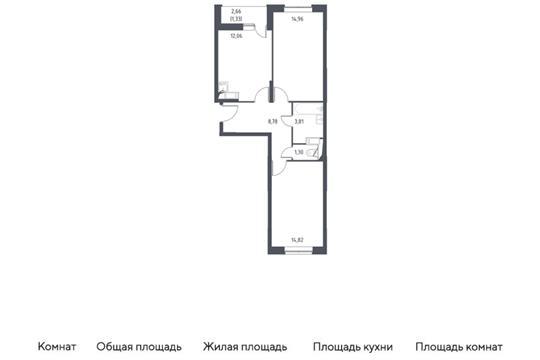 2-комн квартира, 57.06 м2, 5 этаж