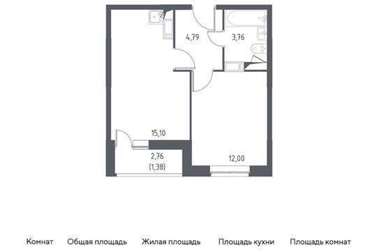 1-комн квартира, 35.31 м2, 5 этаж