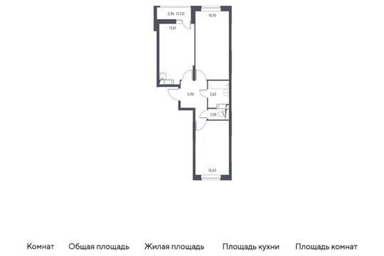 2-комн квартира, 54.41 м2, 5 этаж