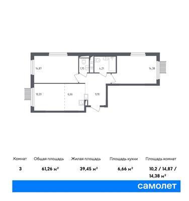 3-комн квартира, 61.26 м2, 15 этаж - фото 1