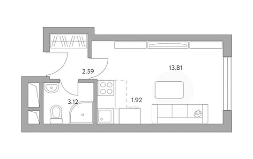 Студия, 21.44 м2, 6 этаж