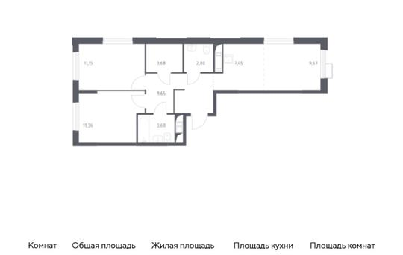 3-комн квартира, 59.36 м2, 11 этаж