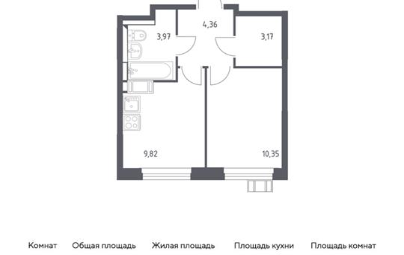 1-комн квартира, 31.67 м2, 8 этаж