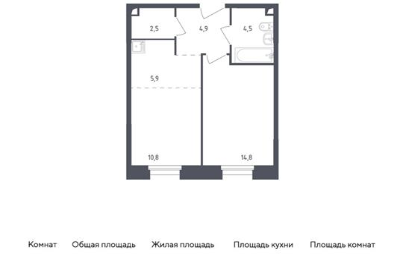 2-комн квартира, 43.4 м2, 2 этаж