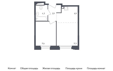 2-комн квартира, 37.8 м2, 2 этаж
