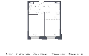 2-комн квартира, 43.1 м2, 4 этаж