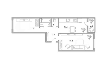 2-комн квартира, 59.1 м2, 1 этаж