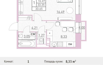 1-комн квартира, 33.65 м2, 6 этаж