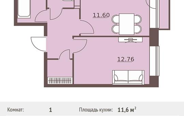 1-комн квартира, 37.32 м2, 6 этаж