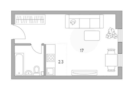 1-комн квартира, 22.9 м2, 3 этаж