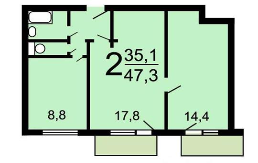 2-комн квартира, 48 м2, 10 этаж
