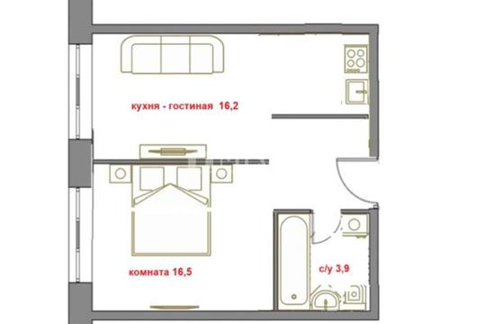 1-комн квартира, 37.6 м2, 2 этаж