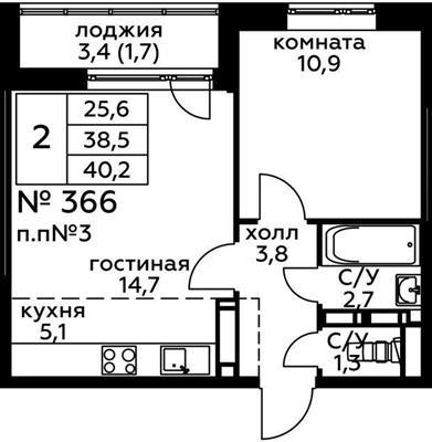 2-комн квартира, 40.2 м2, 7 этаж - фото 1