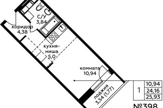 Студия, 25.93 м2, 6 этаж