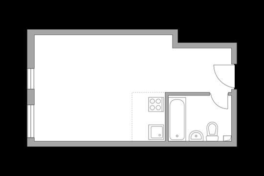 1-комн квартира, 26.5 м2, 12 этаж
