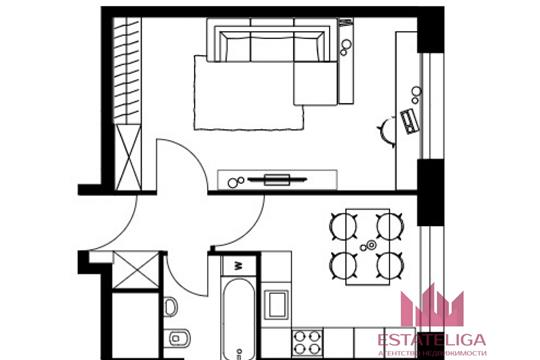 1-комн квартира, 40 м2, 3 этаж