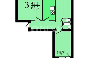 3-комн квартира, 66.7 м2, 2 этаж