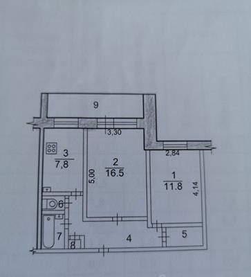 2-комн квартира, 53.6 м2, 3 этаж - фото 1