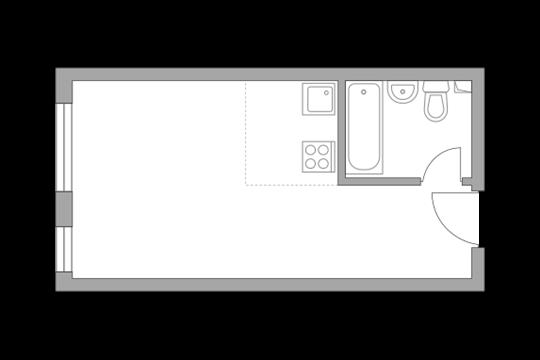 1-комн квартира, 23.4 м2, 2 этаж