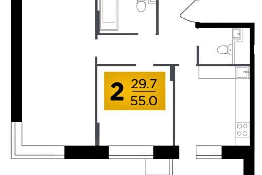 2-комн квартира, 55 м2, 11 этаж