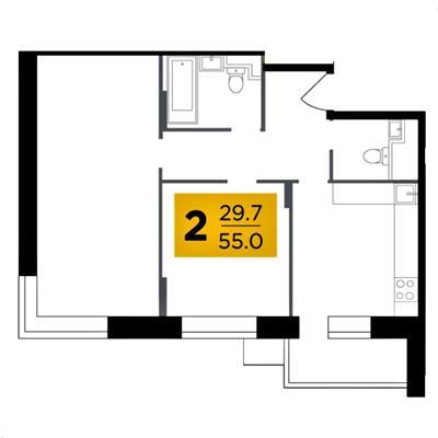 2-комн квартира, 55 м2, 11 этаж - фото 1