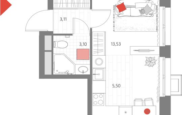 1-комн квартира, 25.24 м2, 25 этаж