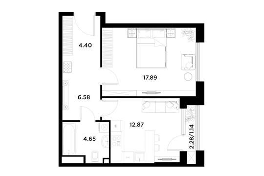 1-комн квартира, 47.53 м<sup>2</sup>, 6 этаж_1