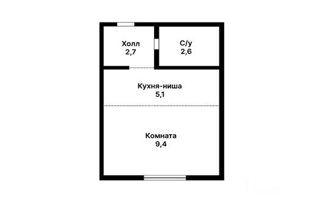 1-комн квартира, 19.8 м2, 19 этаж