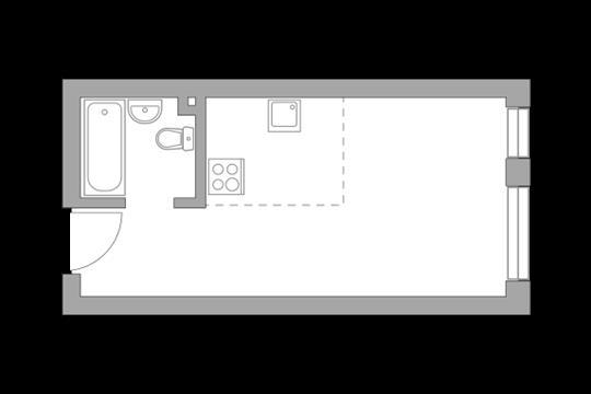 Студия, 25.7 м2, 10 этаж