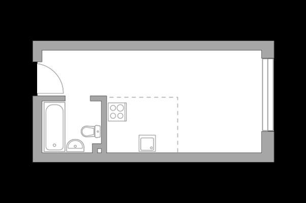 Студия, 25.7 м2, 9 этаж - фото 1