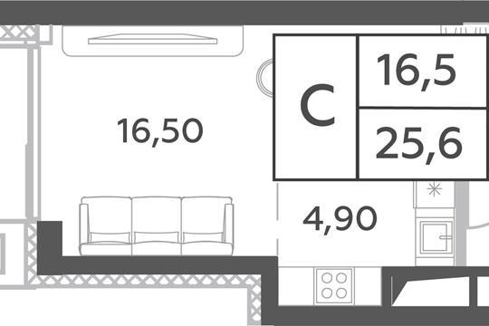 Студия, 25.6 м2, 32 этаж