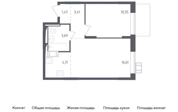 2-комн квартира, 39.84 м2, 17 этаж