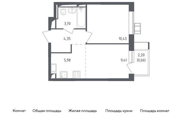 2-комн квартира, 34.53 м2, 17 этаж