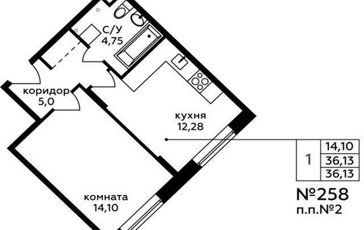 1-комн квартира, 36.13 м2, 2 этаж