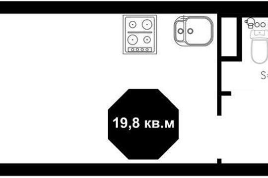 Студия, 19.2 м2, 1 этаж