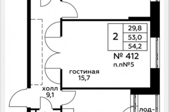 2-комн квартира, 54.2 м2, 15 этаж