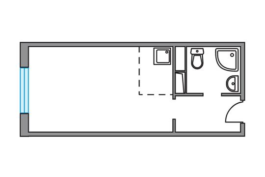 Студия, 23.42 м2, 1 этаж