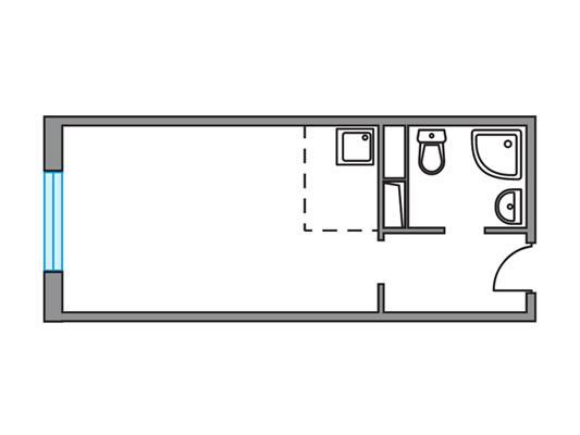 Студия, 23.42 м2, 2 этаж - фото 1