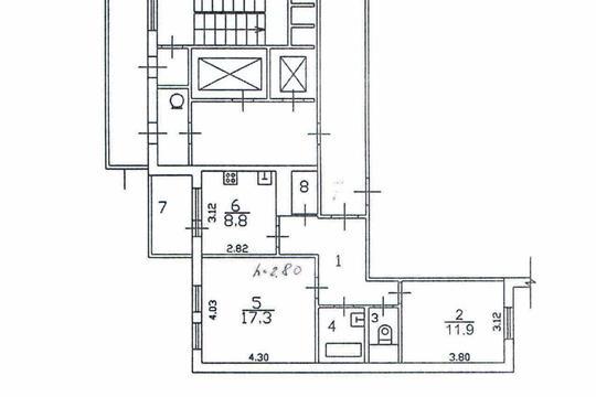 2-комн квартира, 54 м2, 2 этаж