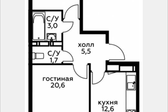 2-комн квартира, 58.9 м2, 20 этаж
