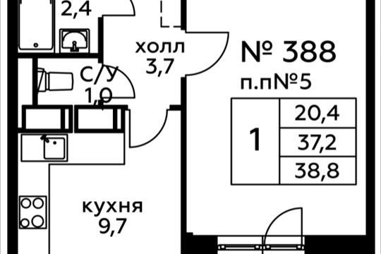 1-комн квартира, 38.8 м<sup>2</sup>, 11 этаж_1