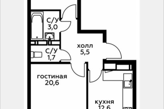 2-комн квартира, 59 м2, 11 этаж