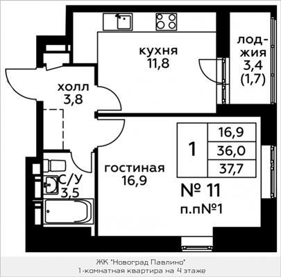 1-комн квартира, 37.7 м2, 4 этаж - фото 1