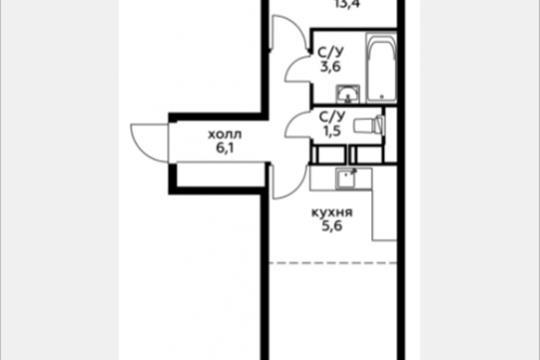 Студия, 44.3 м2, 18 этаж