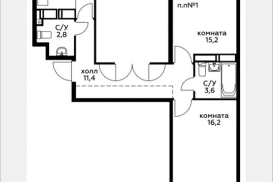 3-комн квартира, 78.5 м2, 18 этаж