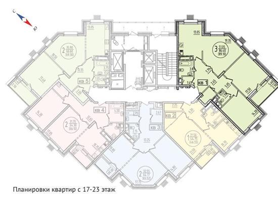 3-комн квартира, 93.7 м2, 19 этаж - фото 1