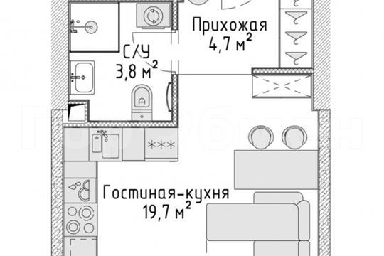 Студия, 28.2 м2, 11 этаж