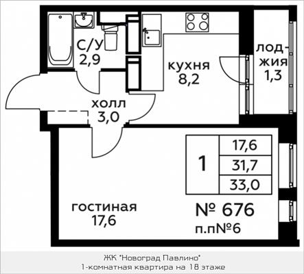 1-комн квартира, 33 м2, 18 этаж - фото 1